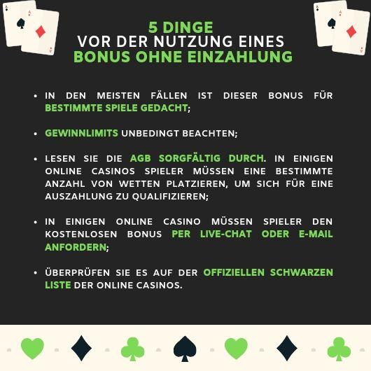 Checkliste für Bonus ohne Einzahlung