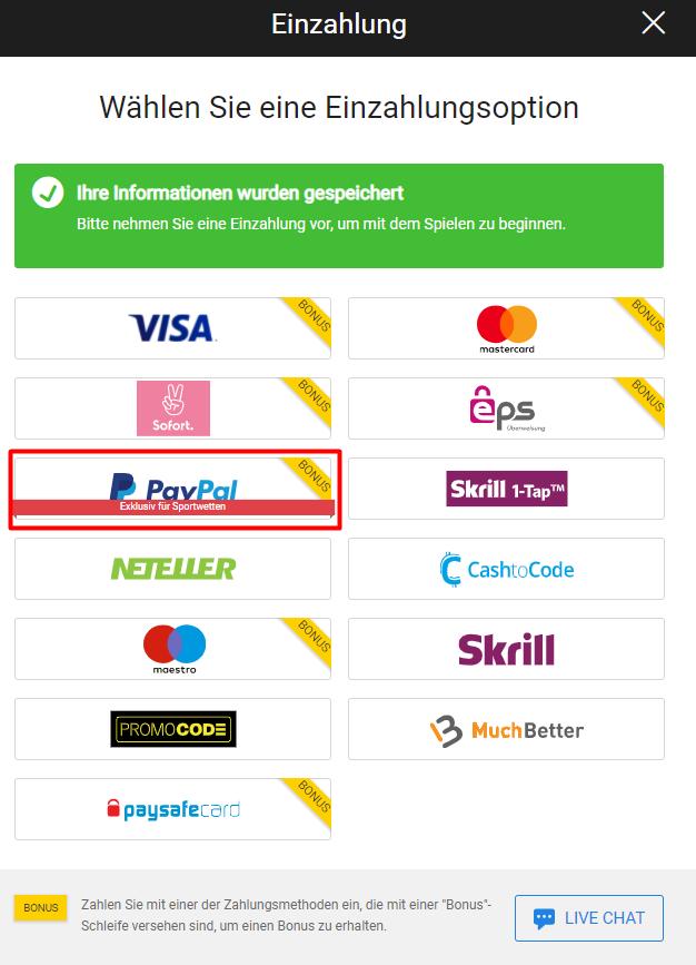 PayPal  Einzahlungsoption