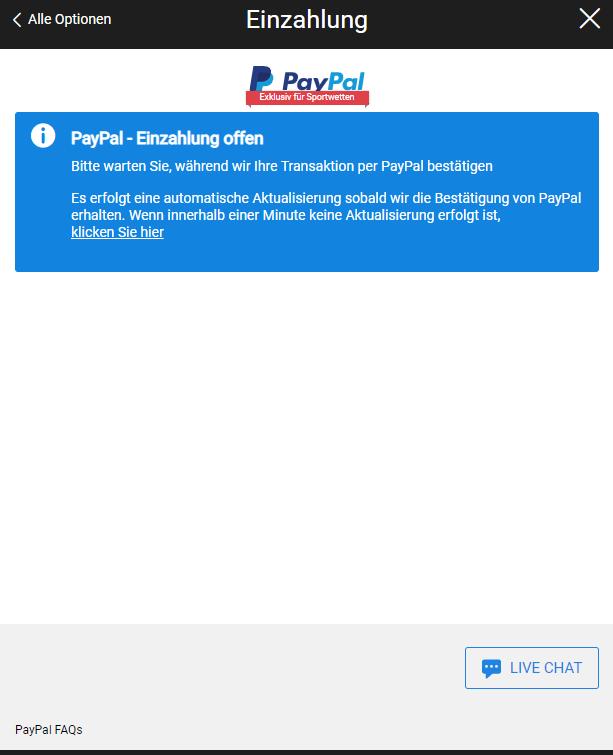 PayPal  Einzahlung offen
