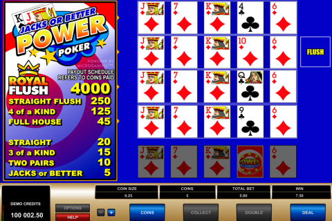 jacks or better  play power poker microgaming