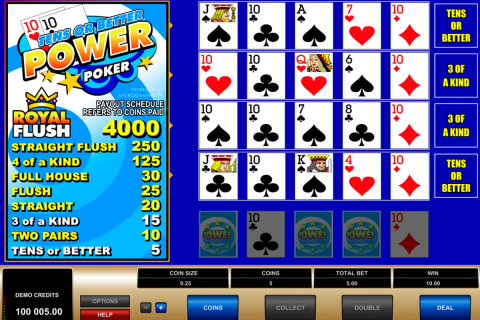tens or better  play power poker microgaming